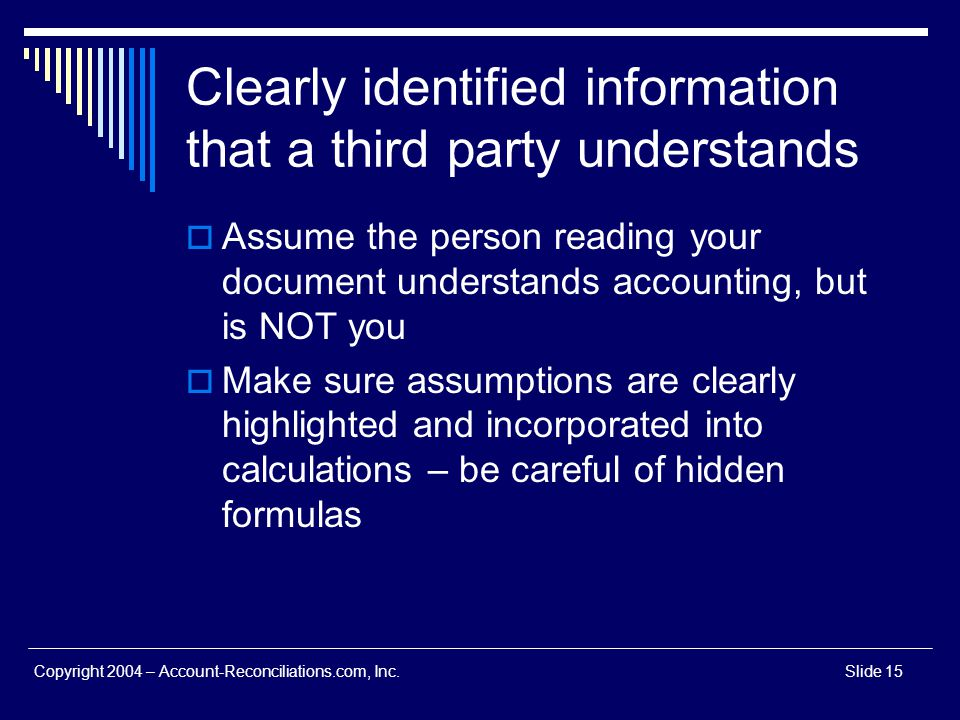 Clearly identified information that a third party understands