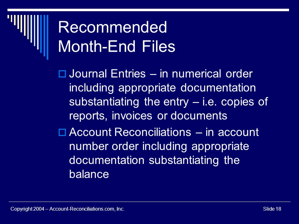 Recommended Month-End Files