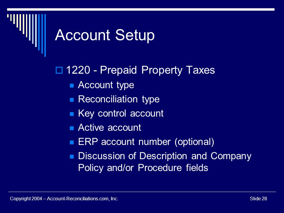 Account Setup 1220 - Prepaid Property Taxes Account type