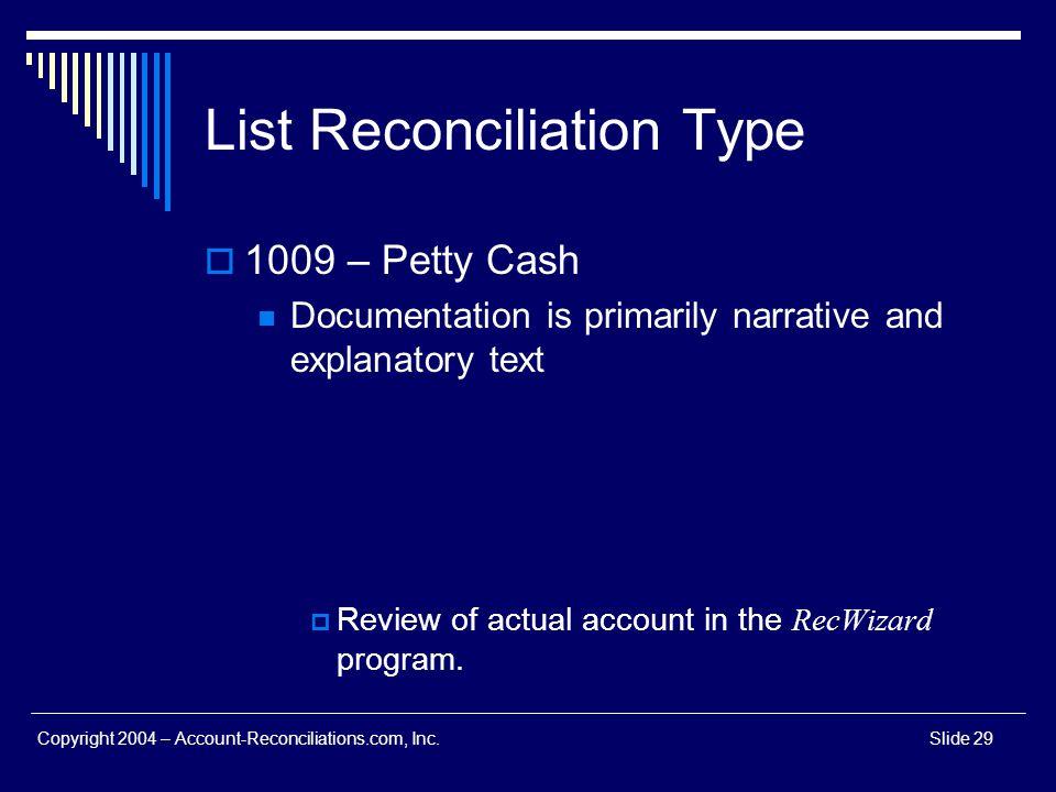 List Reconciliation Type