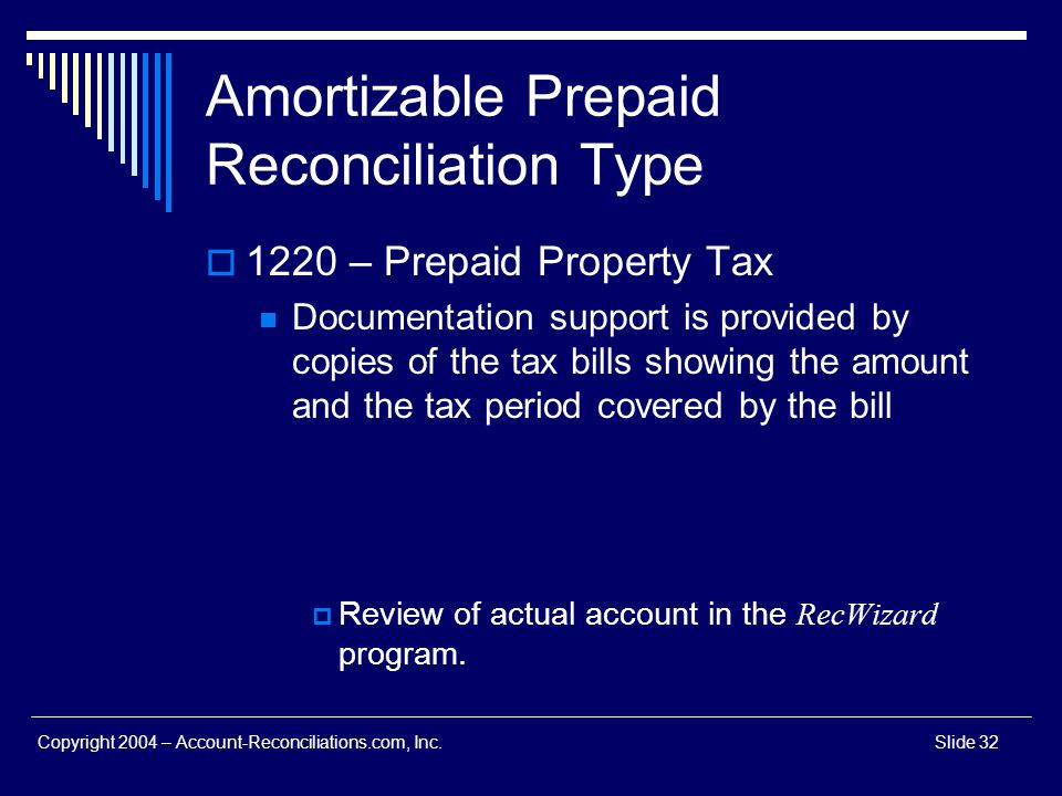 Amortizable Prepaid Reconciliation Type