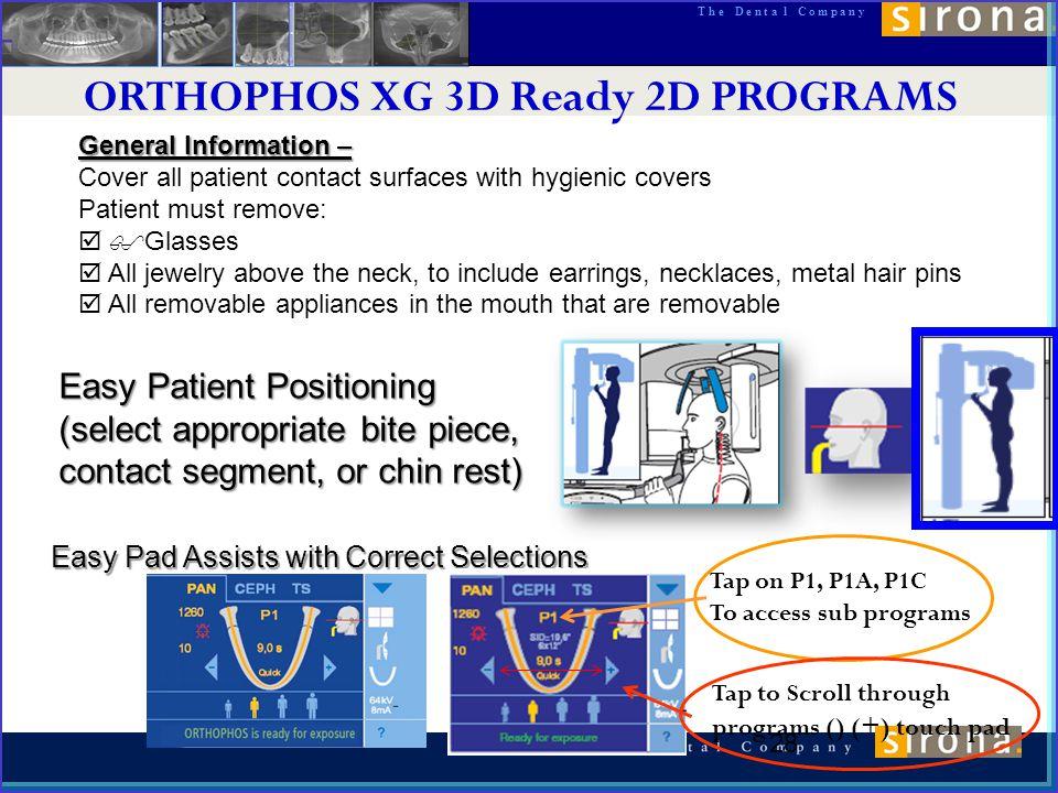 ORTHOPHOS XG 3D Ready 2D PROGRAMS