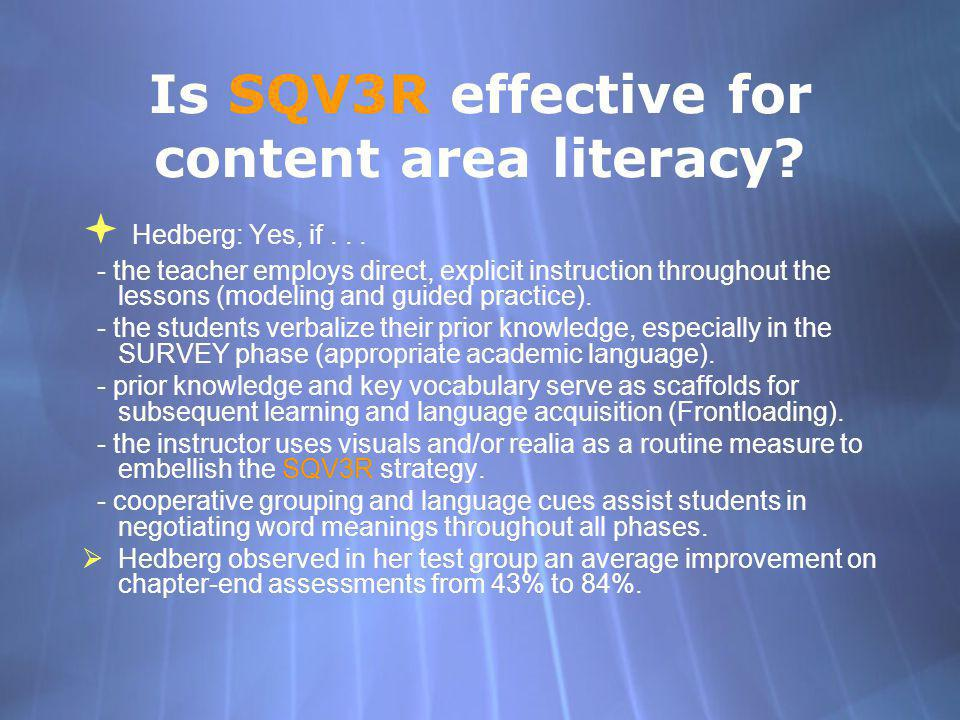Is SQV3R effective for content area literacy
