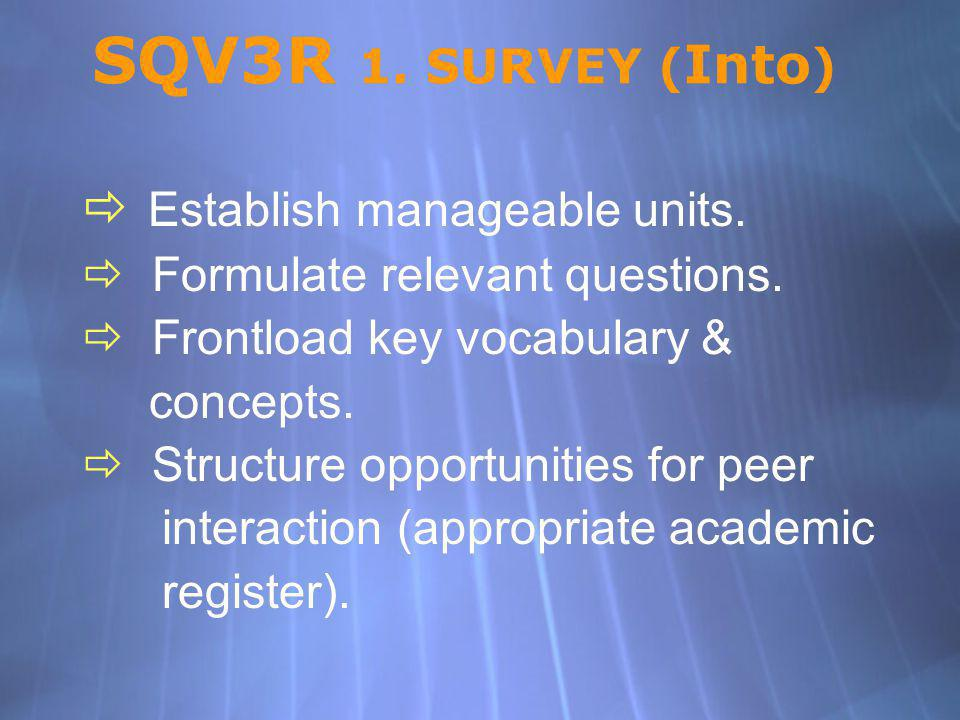 SQV3R 1. SURVEY (Into) Establish manageable units.