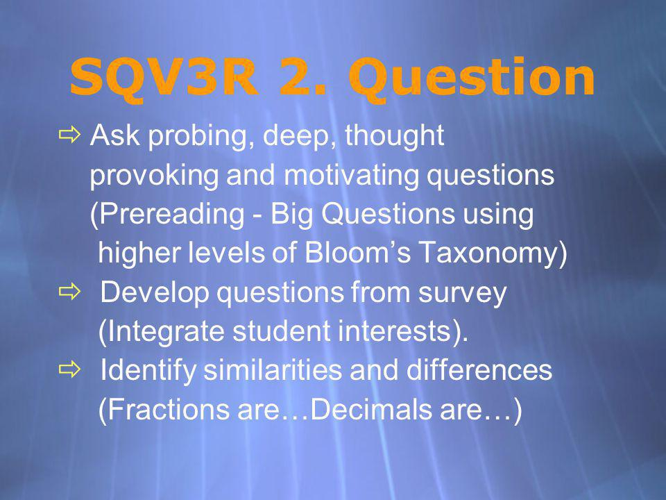 SQV3R 2. Question Ask probing, deep, thought