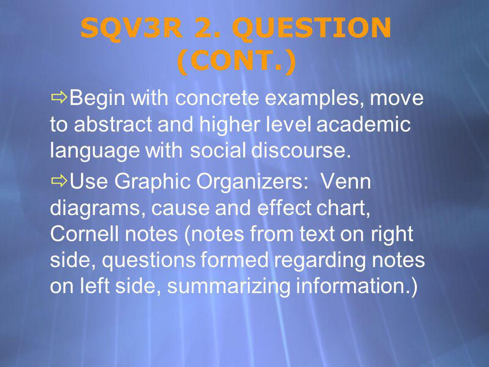 SQV3R 2. QUESTION (CONT.) Begin with concrete examples, move to abstract and higher level academic language with social discourse.