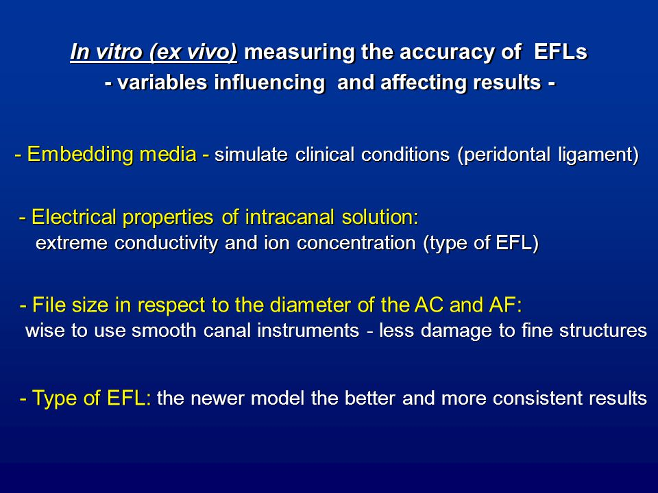 In vitro (ex vivo) measuring the accuracy of EFLs