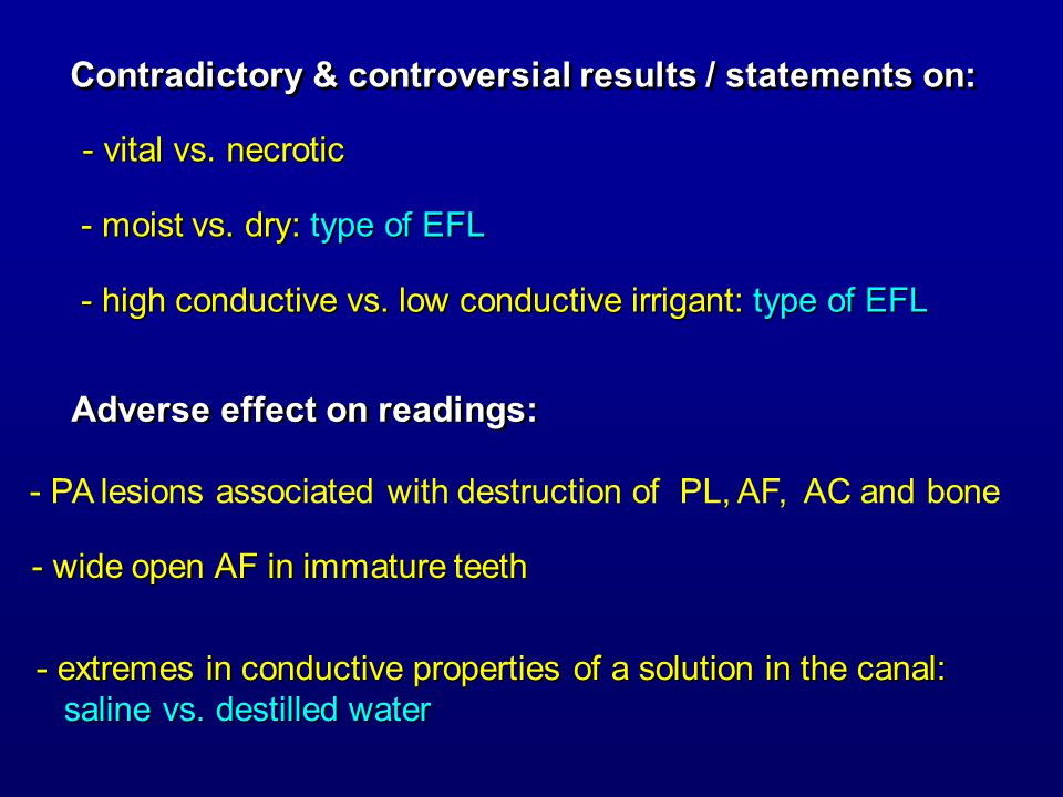 Contradictory & controversial results / statements on: