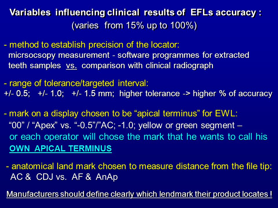 Variables influencing clinical results of EFLs accuracy :