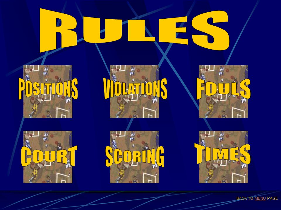 RULES POSITIONS VIOLATIONS FOULS TIMES COURT SCORING BACK TO MENU PAGE