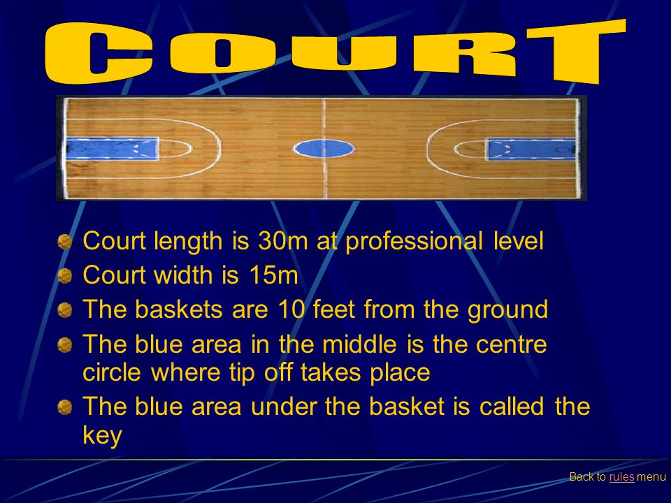 COURT Court length is 30m at professional level Court width is 15m