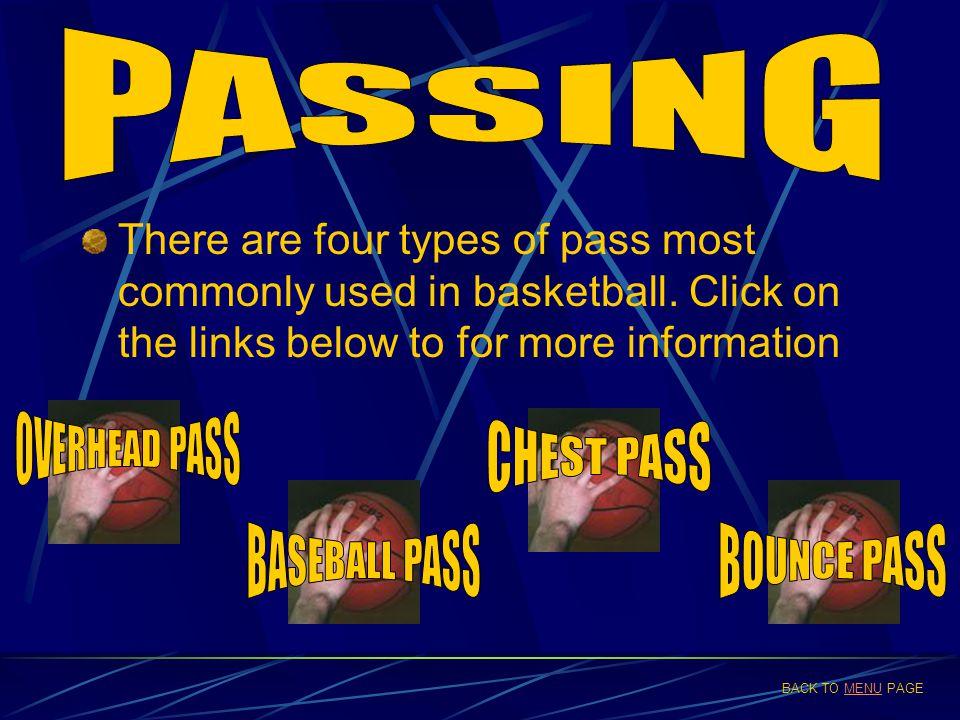 PASSING OVERHEAD PASS CHEST PASS BASEBALL PASS BOUNCE PASS