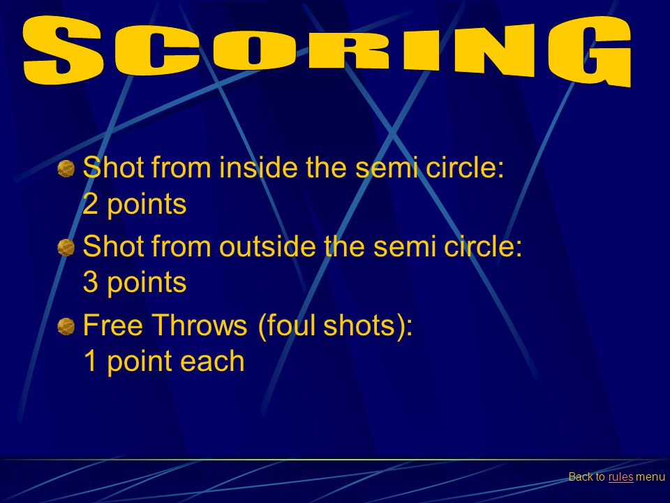 SCORING Shot from inside the semi circle: 2 points