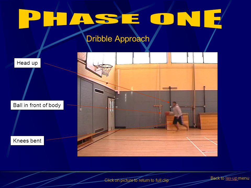 PHASE ONE Dribble Approach Head up Ball in front of body Knees bent