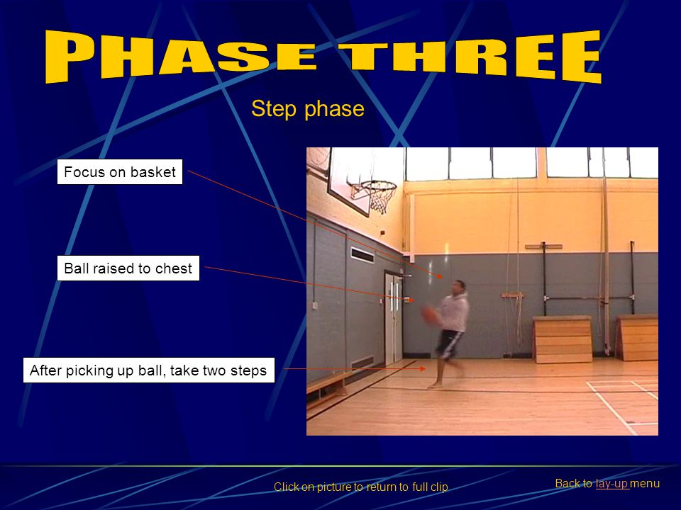 PHASE THREE Step phase Focus on basket Ball raised to chest