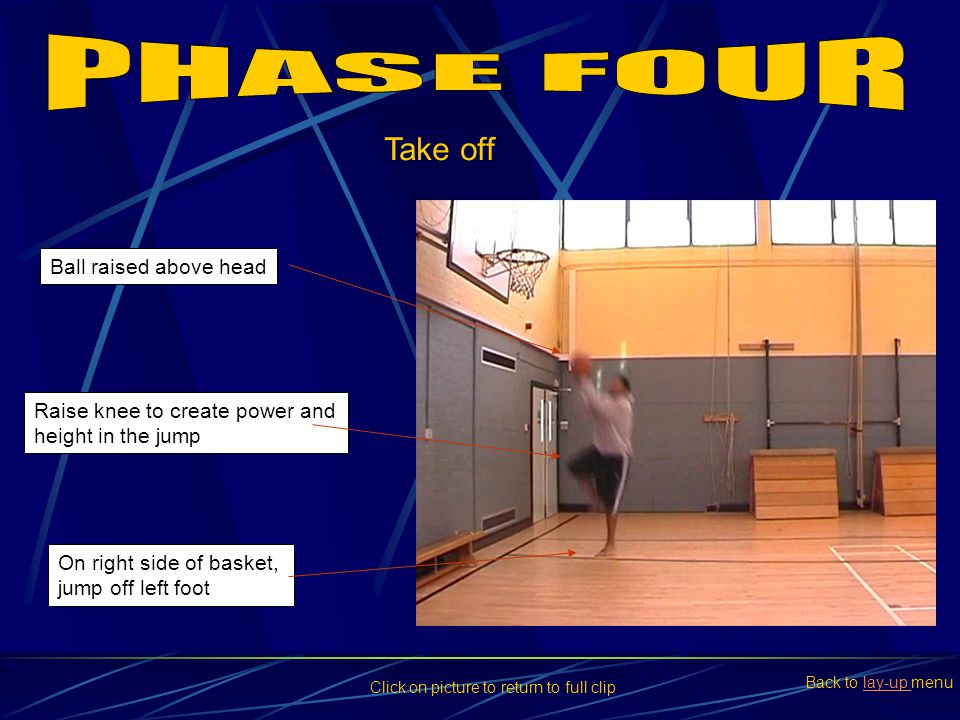PHASE FOUR Take off Ball raised above head