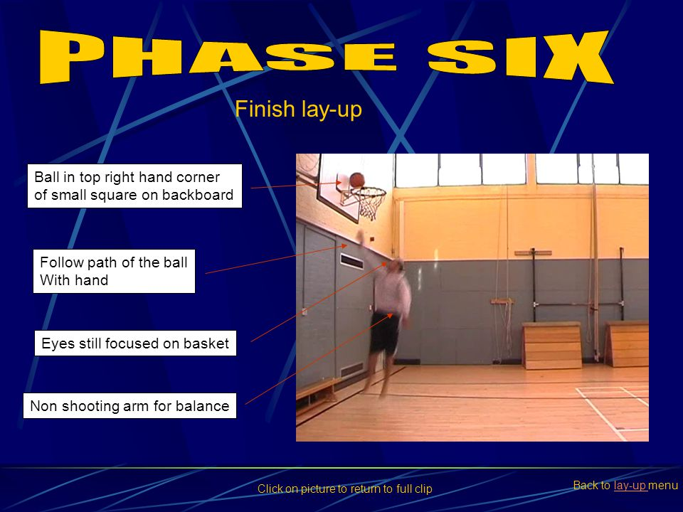 PHASE SIX Finish lay-up Ball in top right hand corner