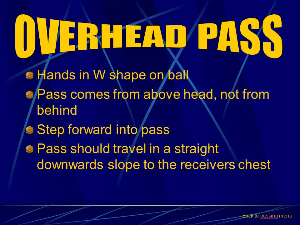 OVERHEAD PASS Hands in W shape on ball