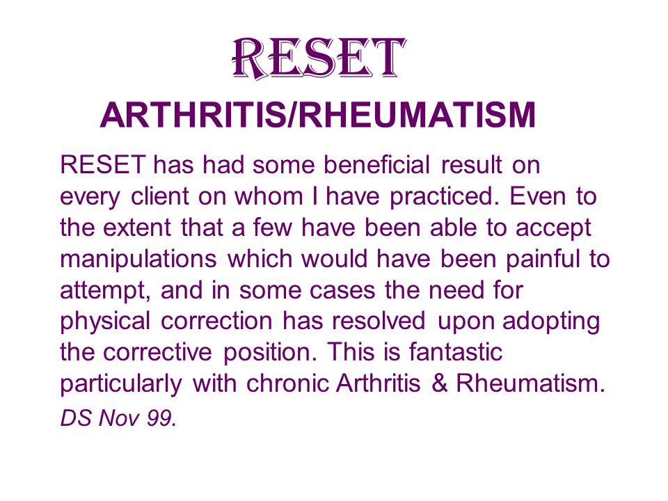 RESET ARTHRITIS/RHEUMATISM