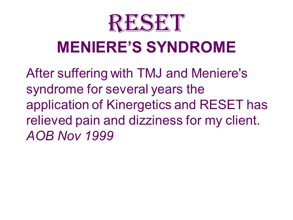 RESET MENIERE'S SYNDROME