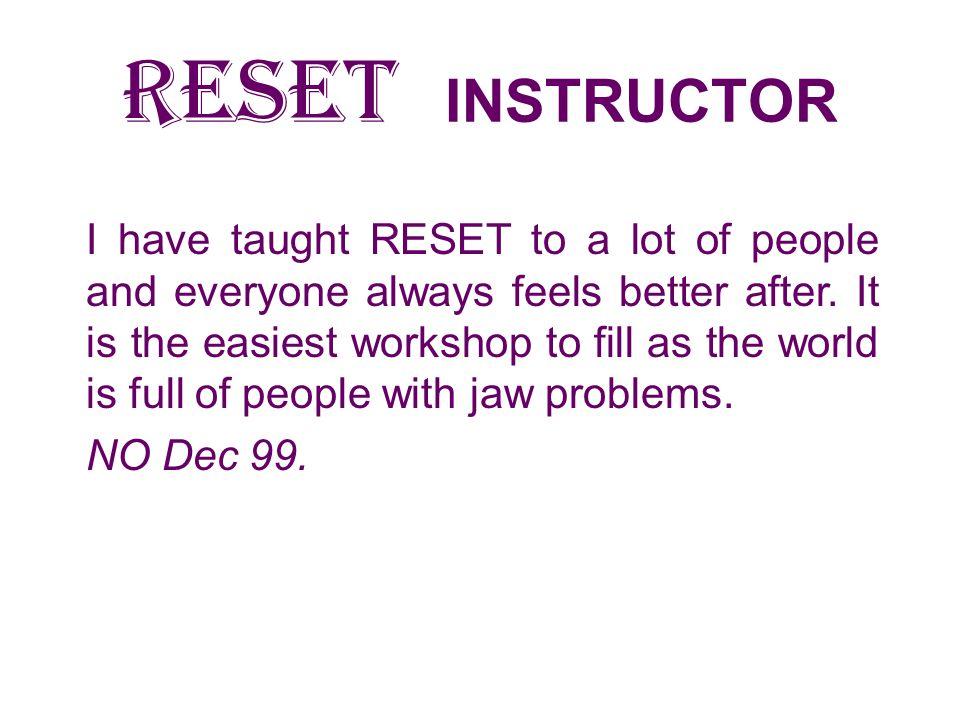 RESET INSTRUCTOR