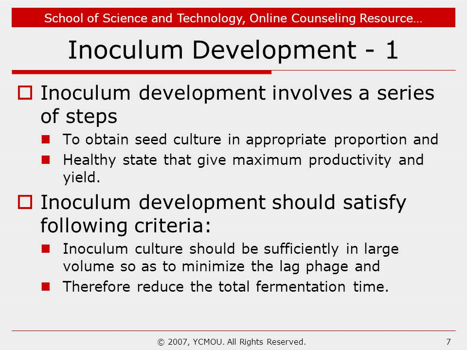 Inoculum Development - 1