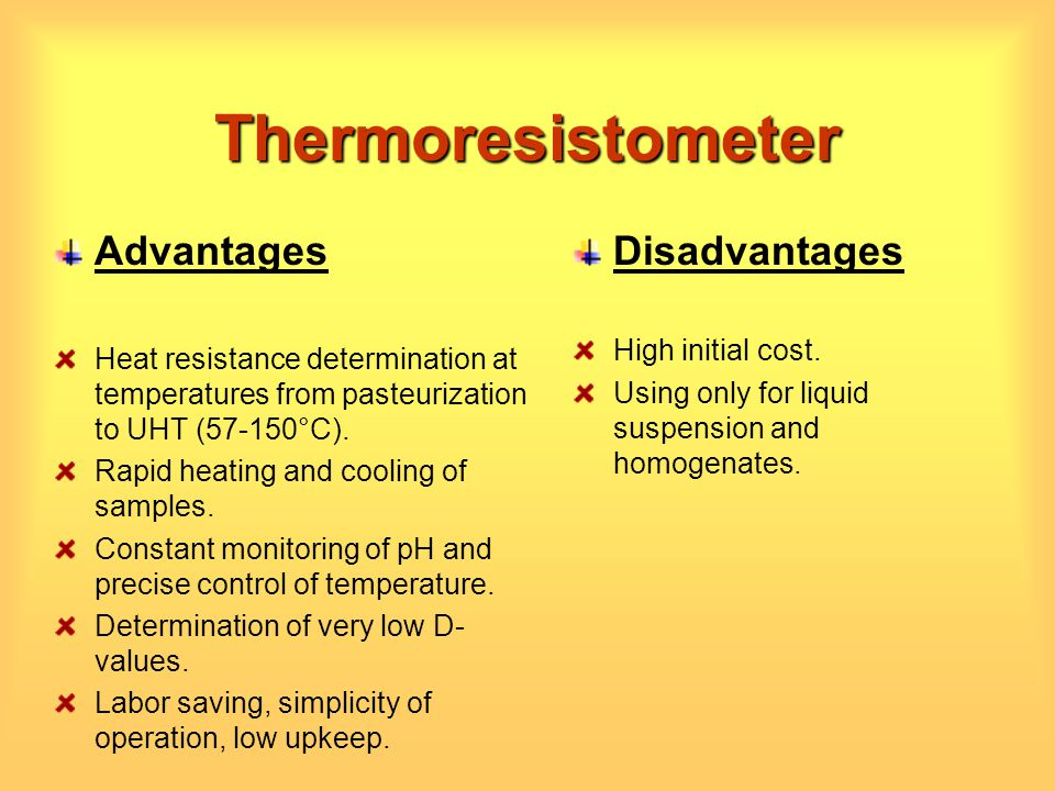 Thermoresistometer Advantages Disadvantages High initial cost.