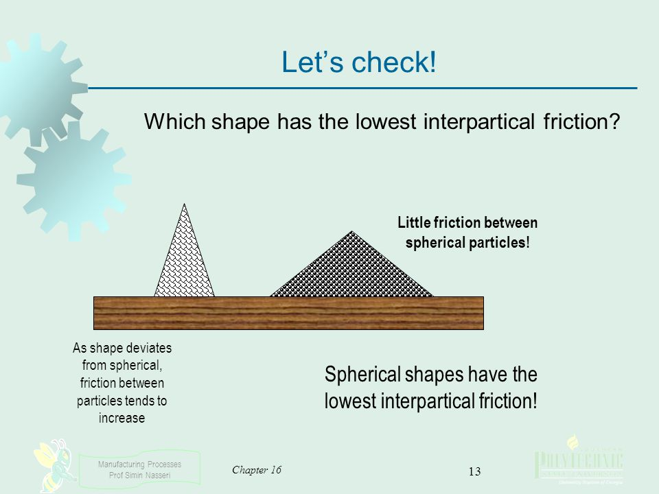 Little friction between spherical particles!