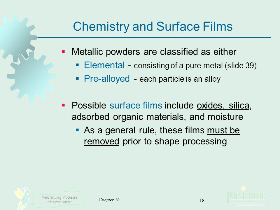 Chemistry and Surface Films