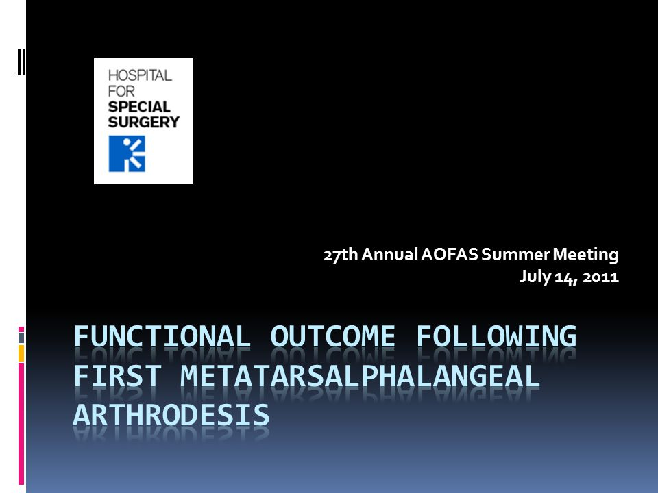 Functional Outcome Following First Metatarsalphalangeal Arthrodesis