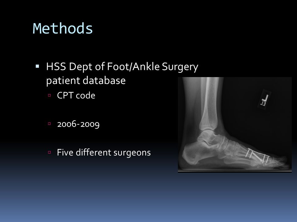Methods HSS Dept of Foot/Ankle Surgery patient database CPT code