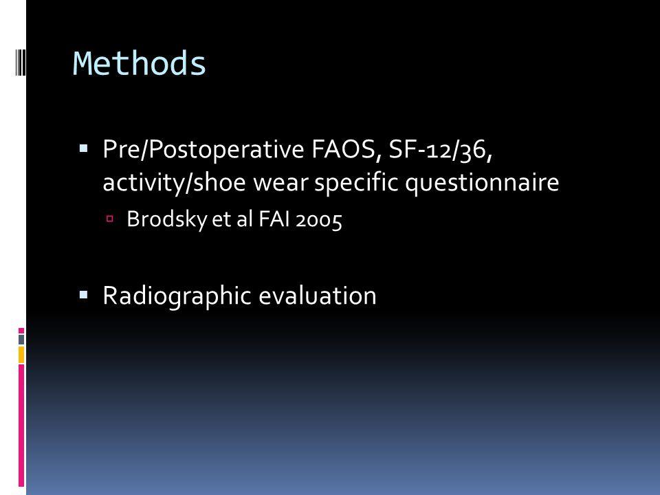 Methods Pre/Postoperative FAOS, SF-12/36, activity/shoe wear specific questionnaire. Brodsky et al FAI 2005.