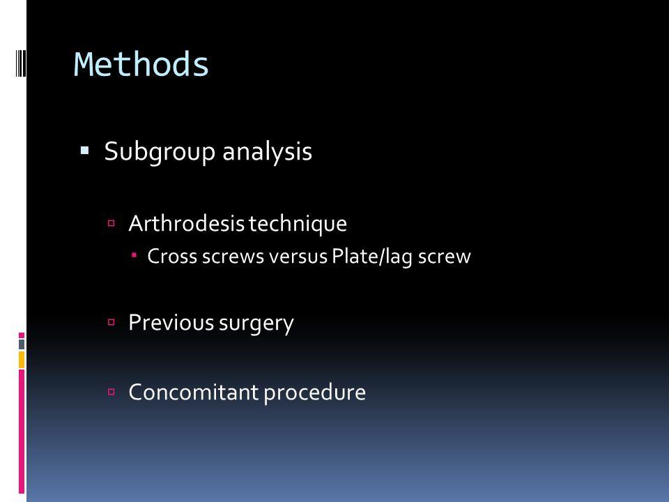 Methods Subgroup analysis Arthrodesis technique Previous surgery