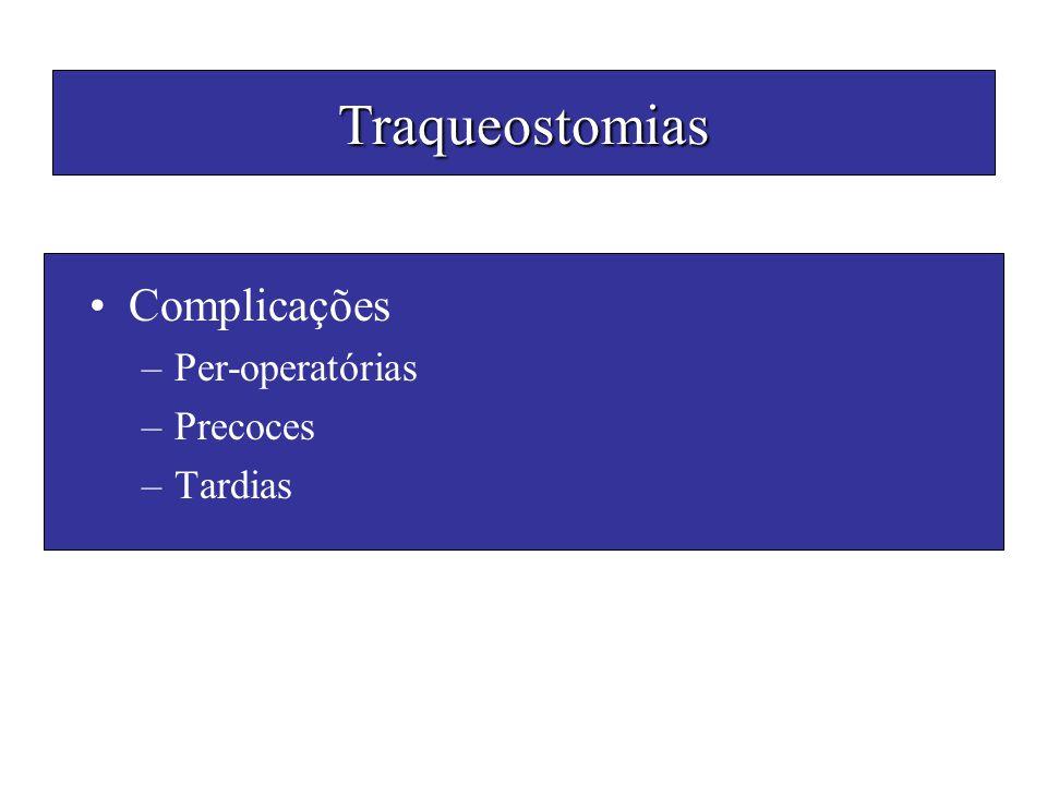 Traqueostomias Complicações Per-operatórias Precoces Tardias