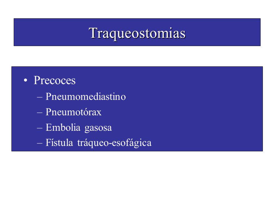 Traqueostomias Precoces Pneumomediastino Pneumotórax Embolia gasosa