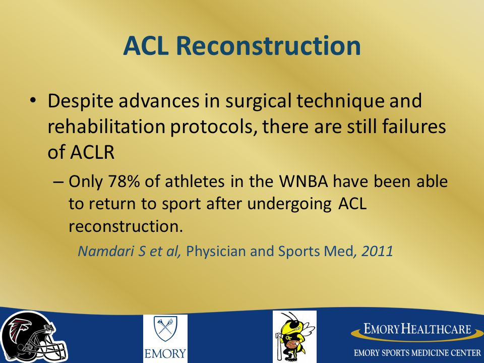 ACL Reconstruction Despite advances in surgical technique and rehabilitation protocols, there are still failures of ACLR.