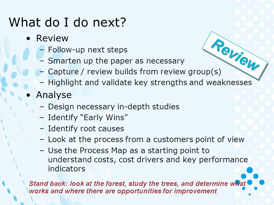 Review What do I do next Review Analyse Follow-up next steps