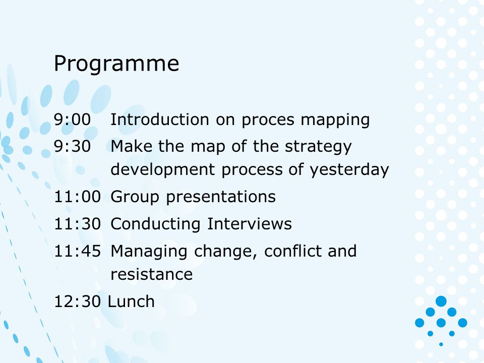 Programme 9:00 Introduction on proces mapping