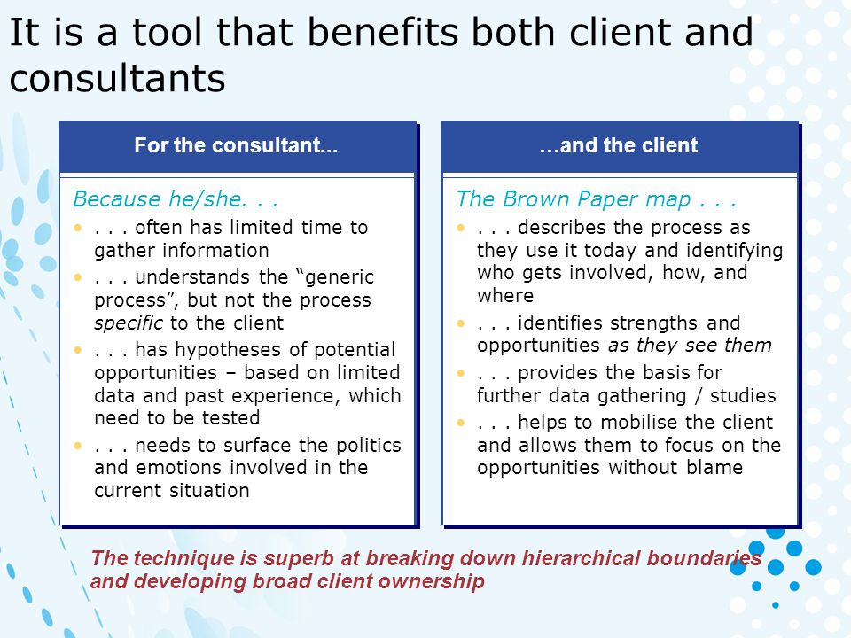 It is a tool that benefits both client and consultants