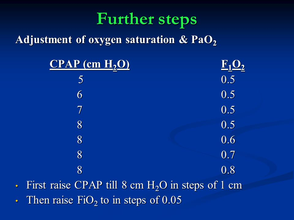 Further steps Adjustment of oxygen saturation & PaO2