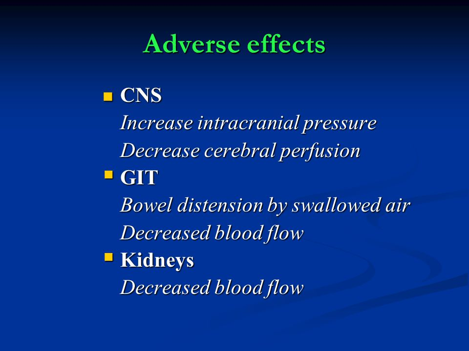 Adverse effects CNS Increase intracranial pressure