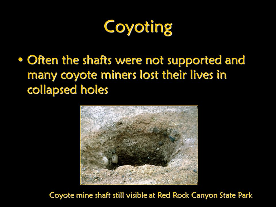 Coyote mine shaft still visible at Red Rock Canyon State Park