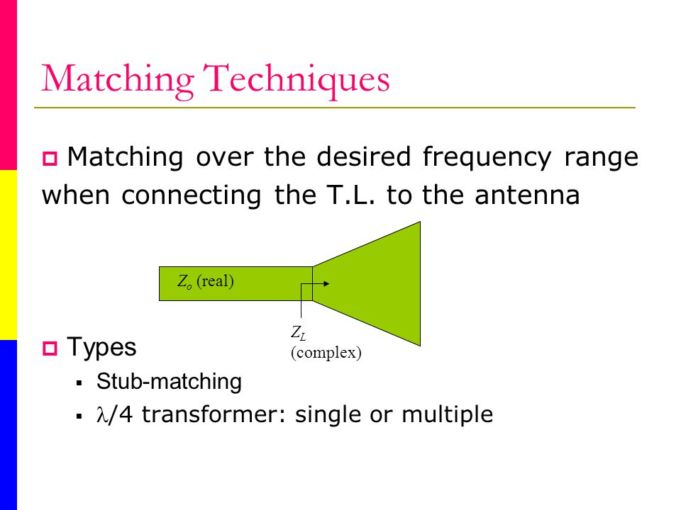 Matching Techniques Matching over the desired frequency range