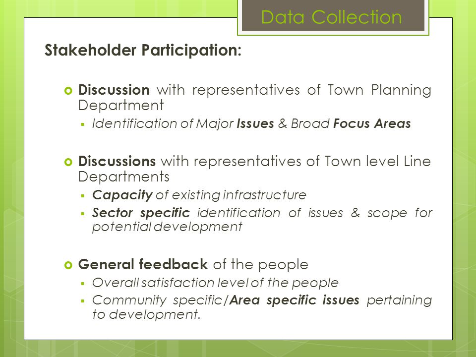 Data Collection Stakeholder Participation: