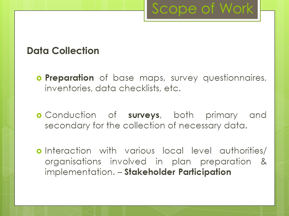 Scope of Work Data Collection