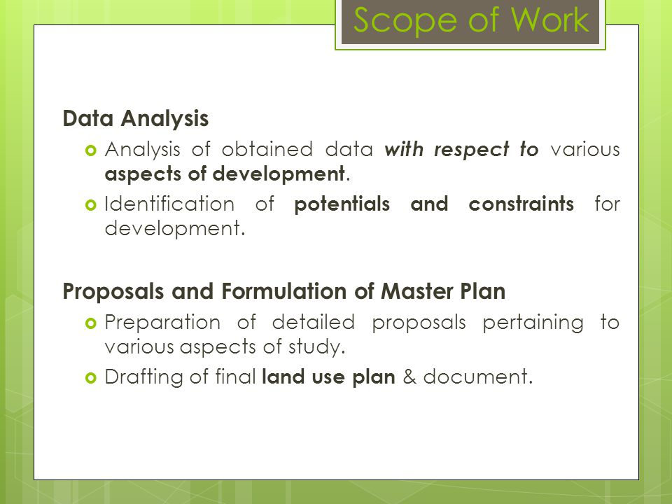 Scope of Work Data Analysis Proposals and Formulation of Master Plan