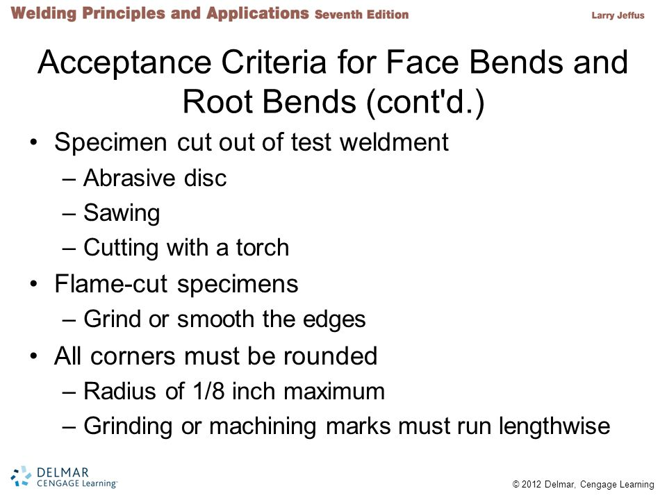 Acceptance Criteria for Face Bends and Root Bends (cont d.)