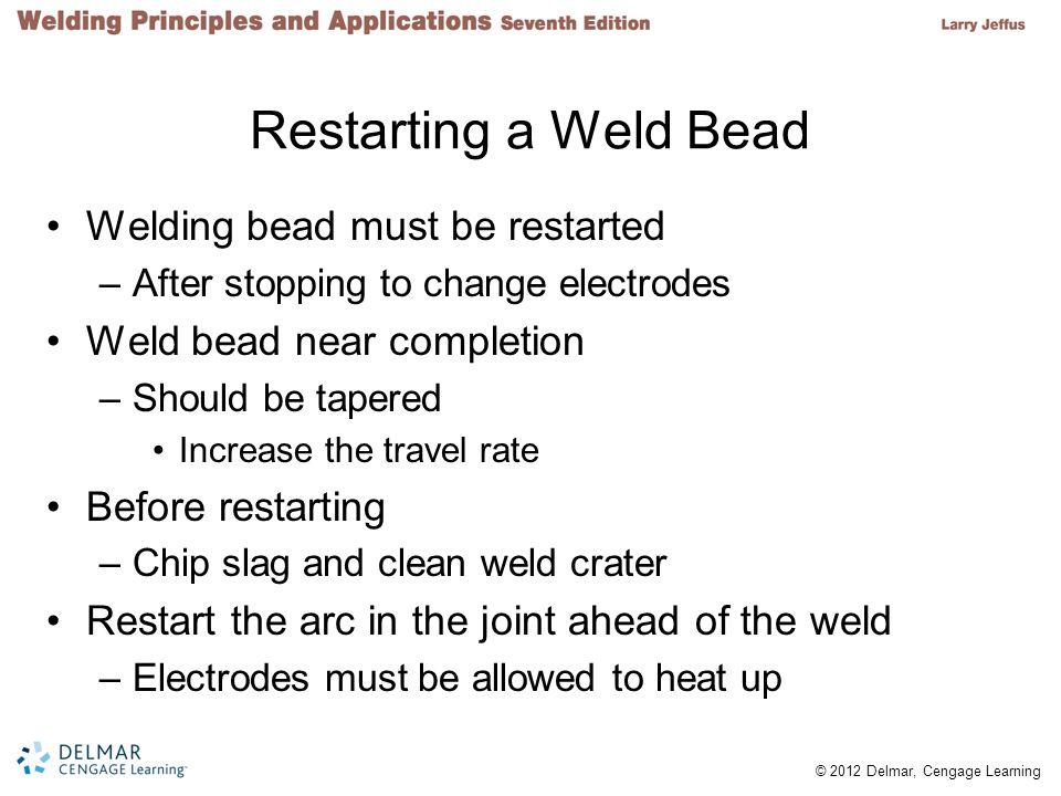 Restarting a Weld Bead Welding bead must be restarted