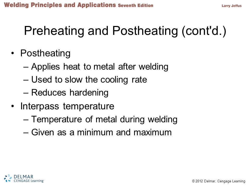 Preheating and Postheating (cont d.)