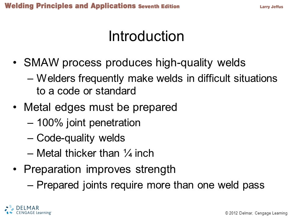 Introduction SMAW process produces high-quality welds